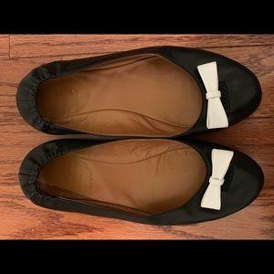 Fendi Black Letsdance Ballet Flat w/White Bow sz 8